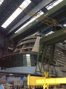 Looking at Two70 from outside Quantum of the Seas During Construction
