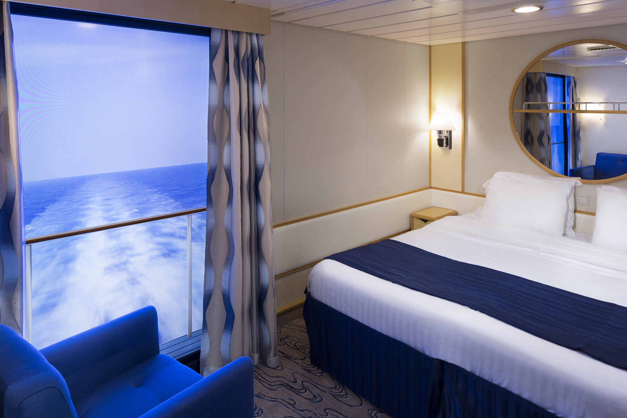 An inside room with a view royal caribbean connect for Definition for balcony