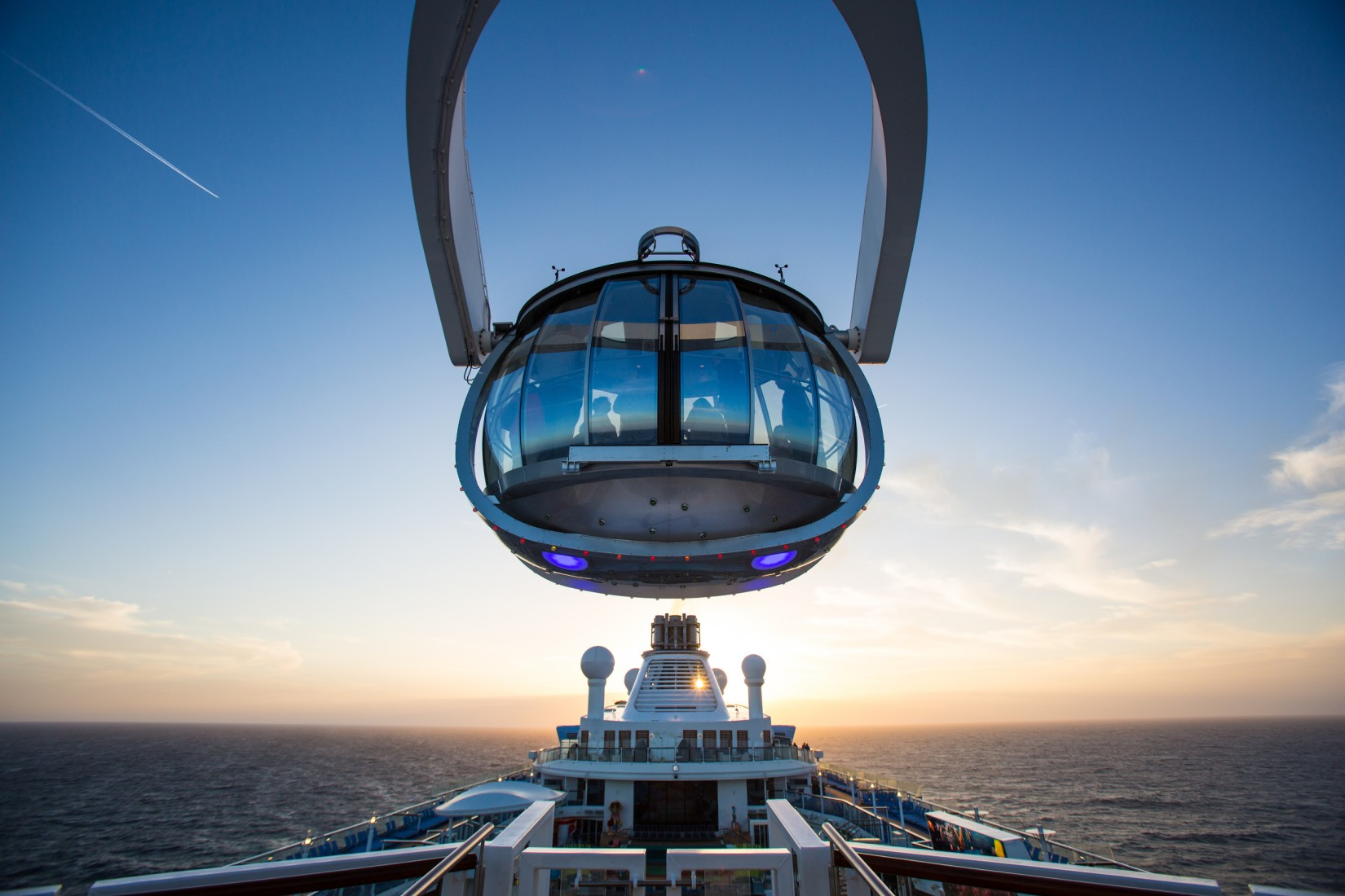 Royal Caribbean International launches Quantum of the Seas, the newest ship in the fleet, in November 2014. The North Star at sunset